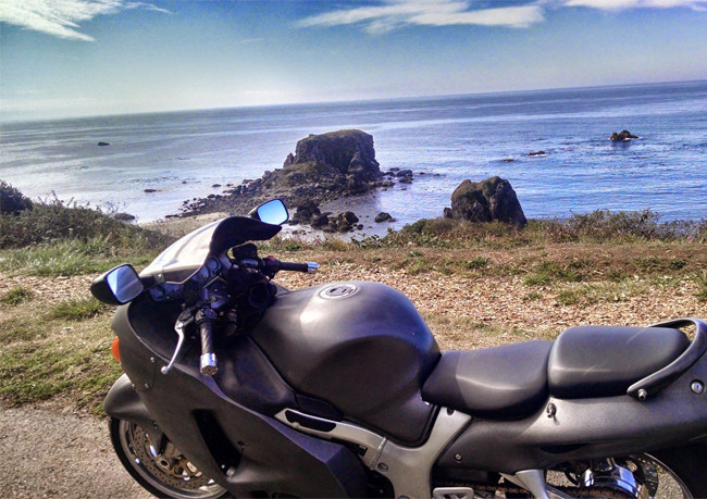 A motorcycle by the sea
